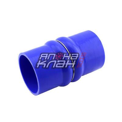 Патрубок силиконовый 150мм двойной демпфер 76мм синий