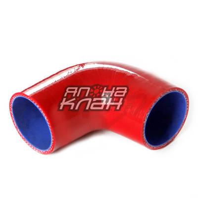 Патрубок силиконовый 90гр 76мм красный