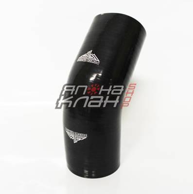 Патрубок силиконовый усиленный 76-76 мм 45 гр черный