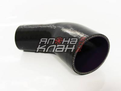 Патрубок силиконовый усиленный 76-102 мм 45 гр черный
