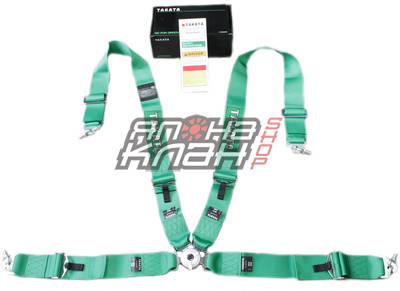 Ремни безопасности 4х точечные TAKATA RACE 4 style GREEN